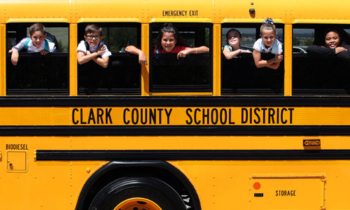students on Clark County School District bus